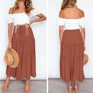 Boho Gypsy Festival Ruffle High Waist Maxi Skirt